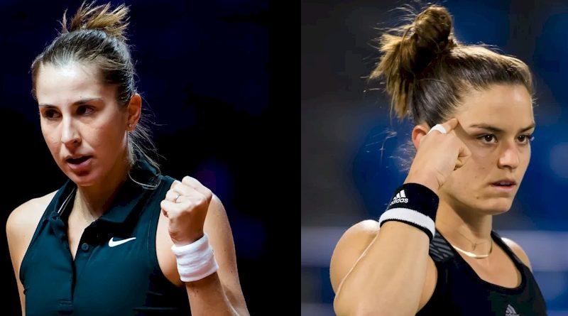 Belinda Bencic (esq) e Maria Sakkari (divulgação WTA Tennis)