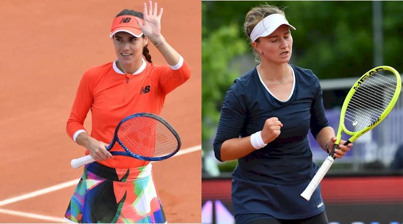 Sorana Cirstea (esq) e Barbora Krejcikova (divulgação WTA Tennis)