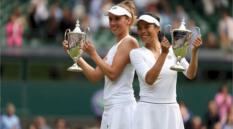 Elise Mertens (esq) e Su-Wei Hsieh (divulgação Wimbledon)